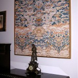 Print on silk fabric - Blue dragons