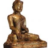 Wooden Gold Sitting Buddha