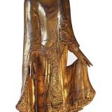 Standing gold wooden Buddha
