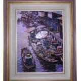 Handmade framed oil painting - Boats