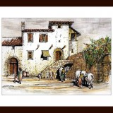 Handmade framed drawing - Village Life