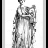 Handmade framed pencil drawing - Erato muse