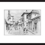 Original ink drawing - Street Market