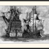 Original ink drawing - Ships